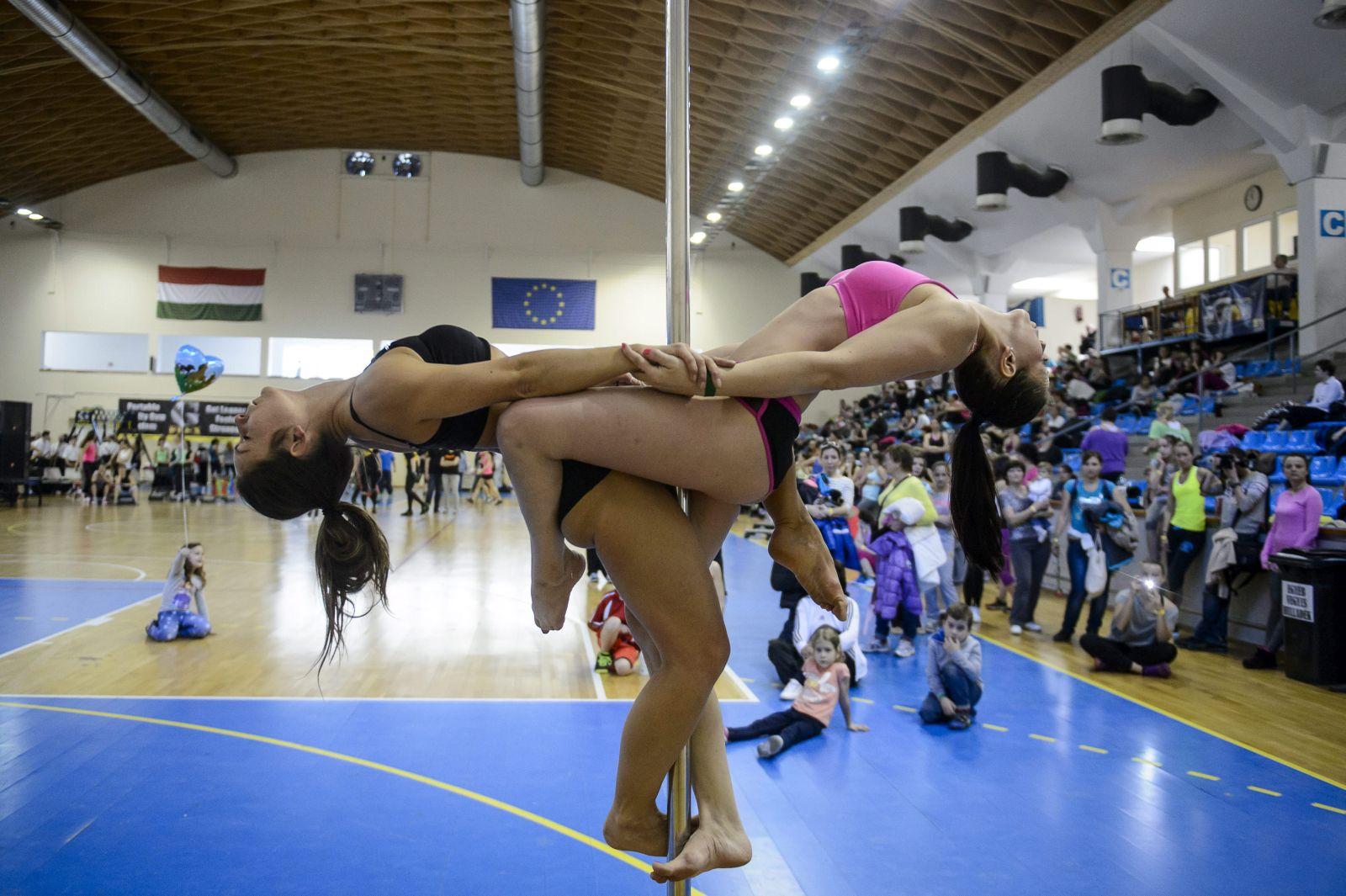Csendes Edina (balra) és Sánta Andrea (jobbra), a Chrome Pole Fitness tagjai rúdakrobatika bemutatót tartanak a IV. Sportos Egészségnapon a salgótarjáni városi sportcsarnokban (MTI Fotó: Komka Péter)