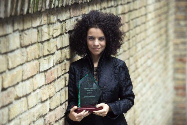 Al Ghaoui Hesna, az MTVA műsorvezetője, riportere, a Kovácsi Lászlóról elnevezett médiadíj kitüntetettje (MTI Fotó: Koszticsák Szilárd)