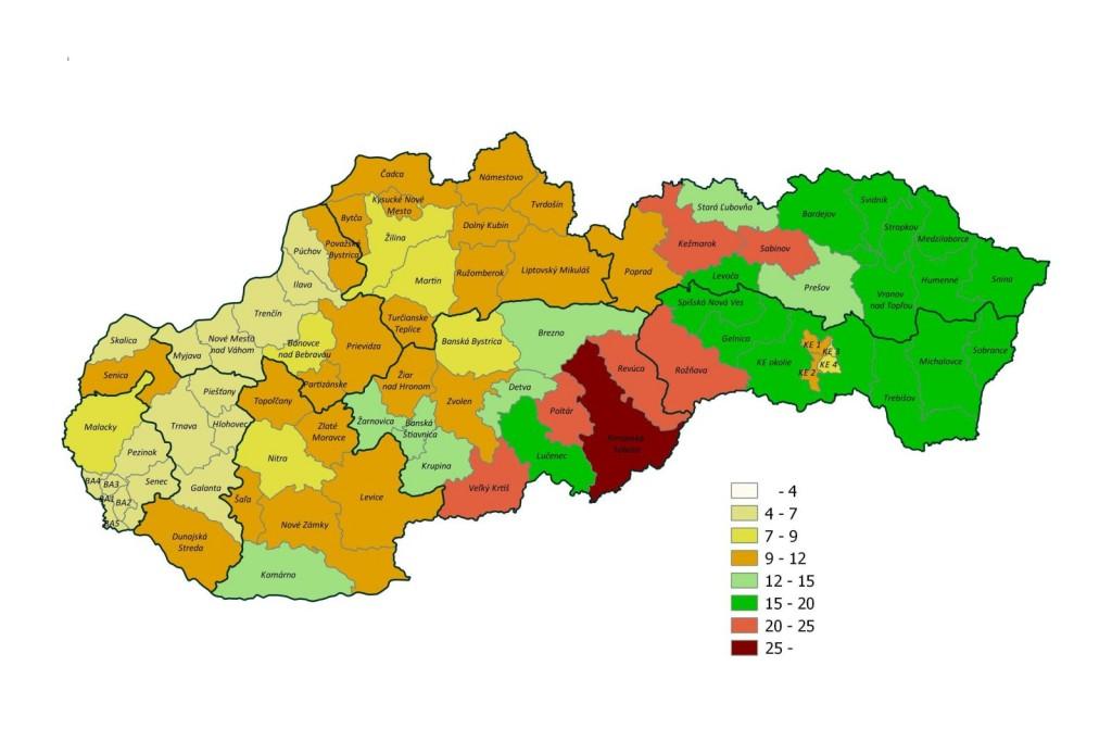 2015. szeptemberének munkanélküliségi rátái Szlovákia járásaiban /a munkanélküliség aránya százalékban/ (Grafika forrása: Munka, Szociális és Családügyi Hivatal   www.upsvar.sk)