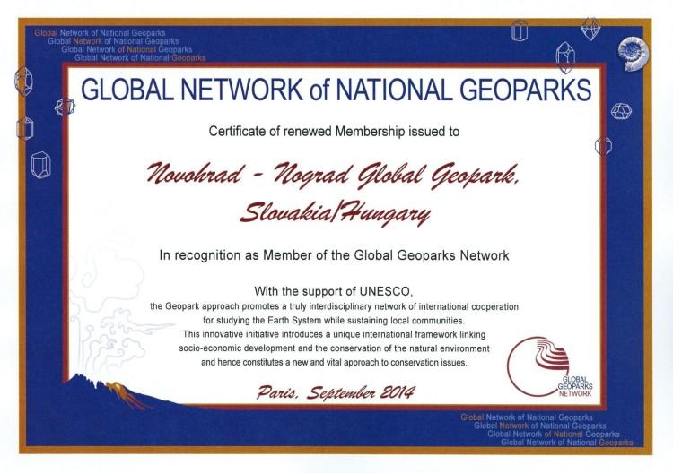 A Novohrad-Nógrád Geopark újabb négy éves nemzetközi tagságáról szóló elismerés (Forrás: www.nngeopark.eu)