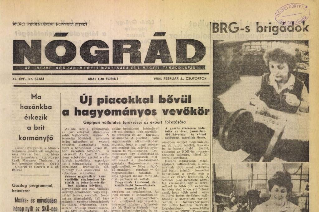 A Nógrád 1984. február 2-ai címlapja (Forrás: library.hungaricana.hu | Balassi Bálint Megyei Könyvtár (Nógrád megye) - Nógrád Megyei Hírlap 1948-2005)