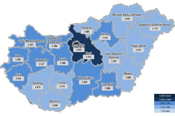 2015-ös egy főre jutó összevont jövedelem (ezer forint), megyei bontásban (Forrás: Nemzeti Adó- és Vámhivatal)