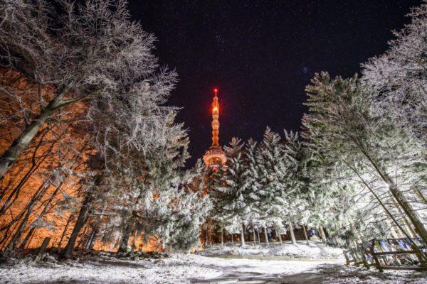 Téli éjszaka Kékestetőn (MTI Fotó: Komka Péter)