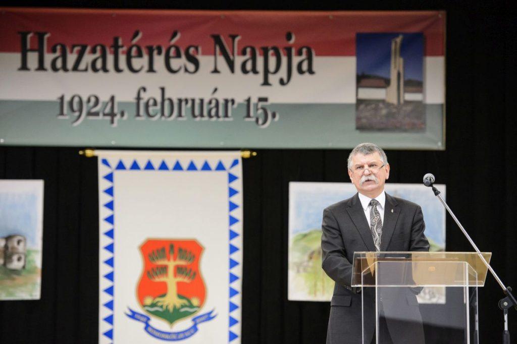 Kövér László, az Országgyűlés elnöke a hazatérés napja 94. évfordulója alkalmából tartott somoskőújfalui megemlékezésen (MTI Fotó: Komka Péter)