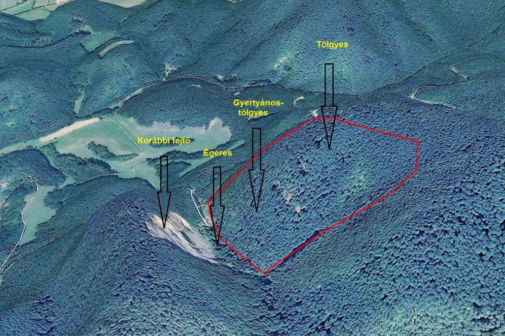 A bányaterület, piros kerettel körülhatárolva a jövőbeni bányaművelés kapcsán érintett rész (Forrás: KM Építő Kft. - Karancsberény Külterület 040 hrsz. alatti anyagbánya Környezeti hatástanulmánya)