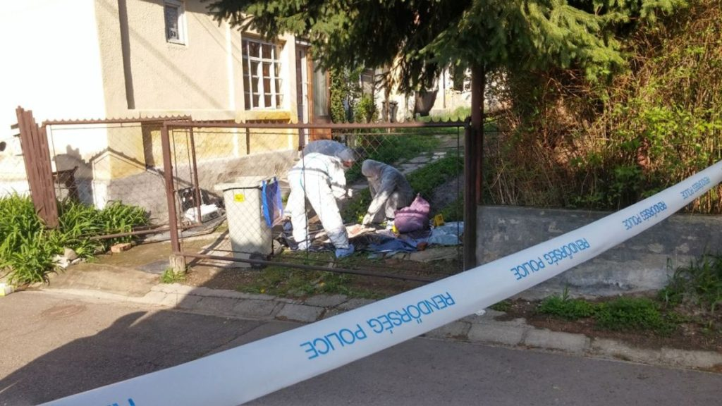 Helyszínelés a különös kegyetlenséggel megölt idős nő házánál (Archív fotó: Nógrád Megyei Rendőr-főkapitányság)