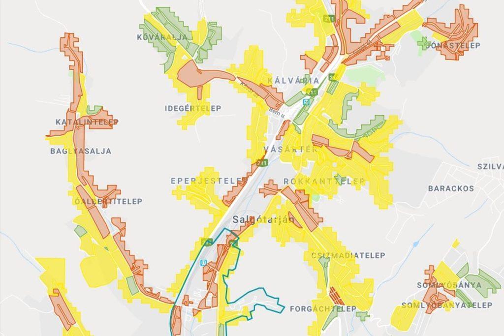 A salgótarjáni ólomkockázati térkép egy részlete (Forrás: NNK)