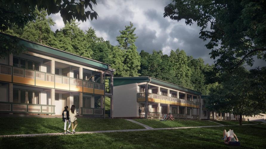A régi faházak helyére ilyen új, egész évben használható kőházak épülnének a gyermektábor területén (Forrás: Salgótarján Megyei Jogú Város Önkormányzata)