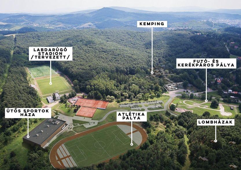 """Tervezett fejlesztési helyszínek a terület """"felső"""" részén (Forrás: Salgótarján Megyei Jogú Város Önkormányzata)"""