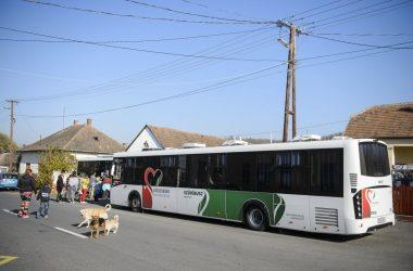 Az egészségügyi szűrésre várakozók az egyik vizsgálóbusznál Nógrádszakálban (Fotó: MTI/Komka Péter)