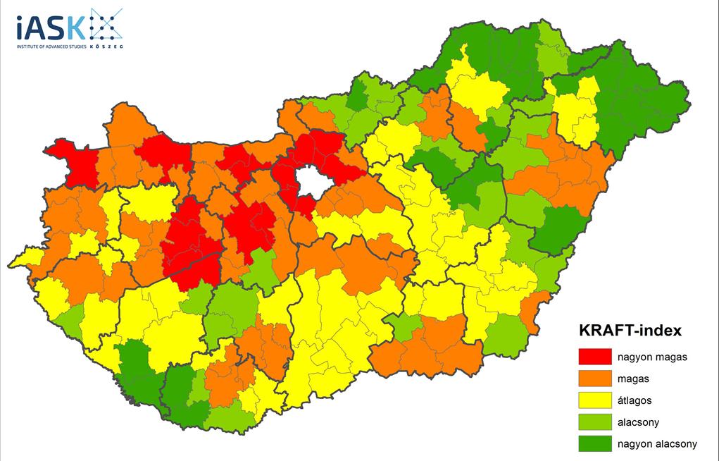 """""""Hőtérképen"""" a magyar vidéki régiók fejlettségi szintje és fejlődési potenciálja (Grafika: iASK-FTI)"""