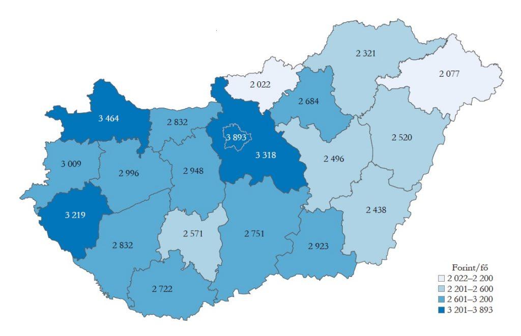 Csomagküldő és internetes kiskereskedelem nélkül számított, egy lakosra jutó napi kiskereskedelmi forgalom megyénként, 2018 (Forrás: Központi Statisztikai Hivatal)