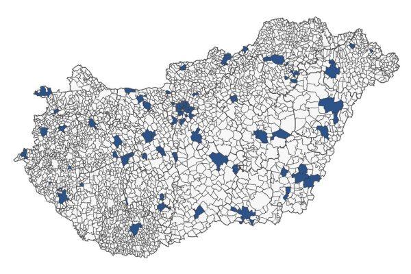 A népszámlálás próbafelvétel mintájában szereplő települések (Grafika: Központi Statisztikai Hivatal)