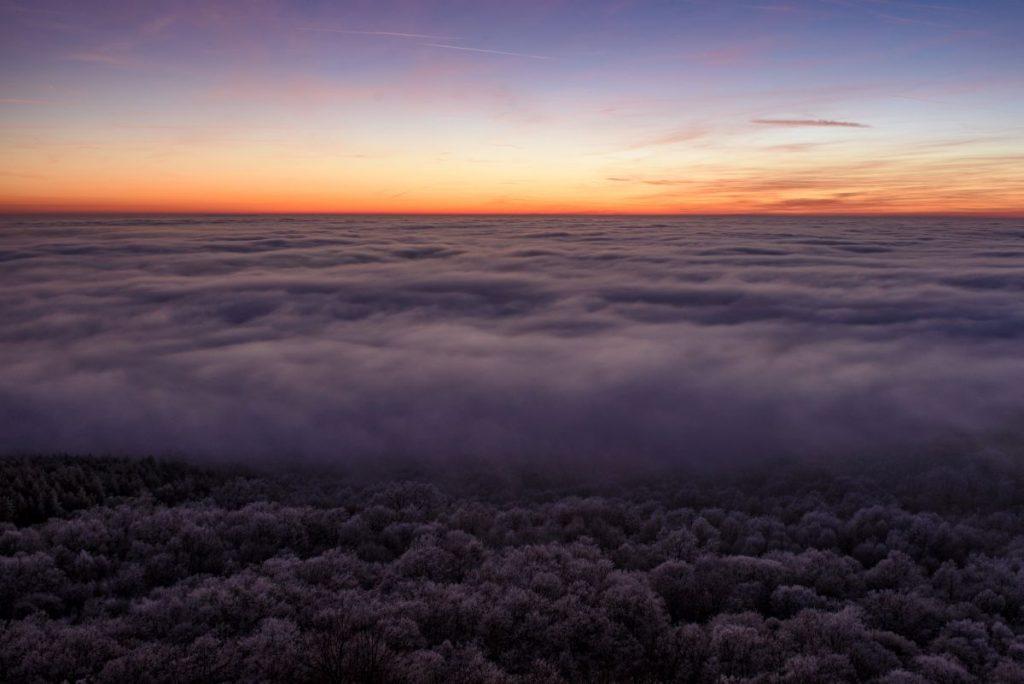 Köd Salgótarján térsége felett 2020. január 15-én (Fotó: MTI/Komka Péter)