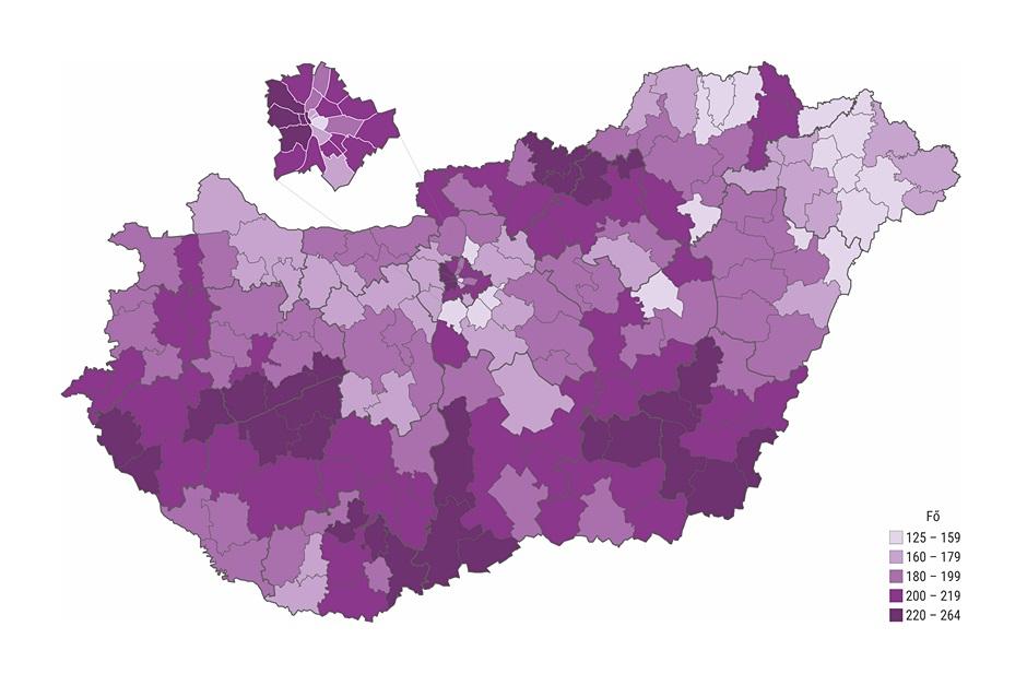A 65 éves és annál idősebbek ezer lakosra jutó száma járásonként (Forrás: Központi Statisztikai Hivatal)