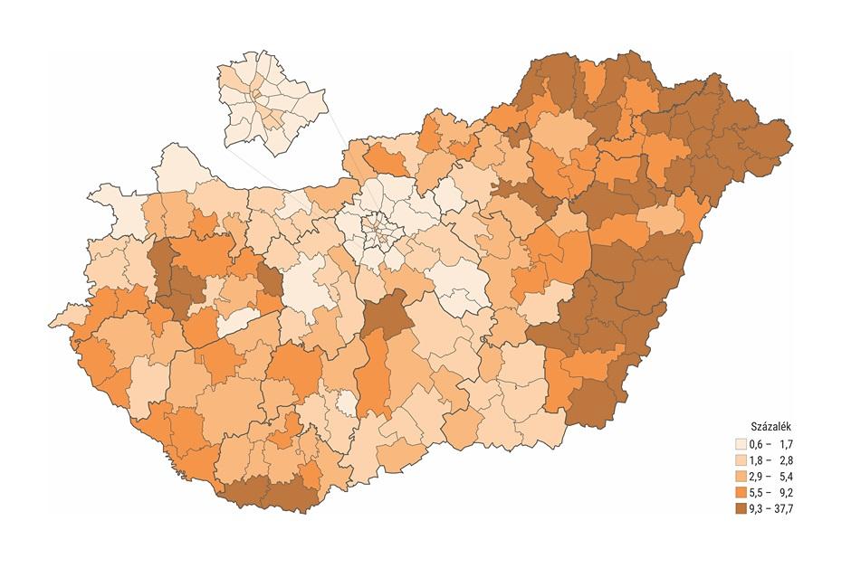 Házi segítségnyújtásban részesülők a 65 éves és idősebb népesség százalékában járásonként (Forrás: Központi Statisztikai Hivatal)