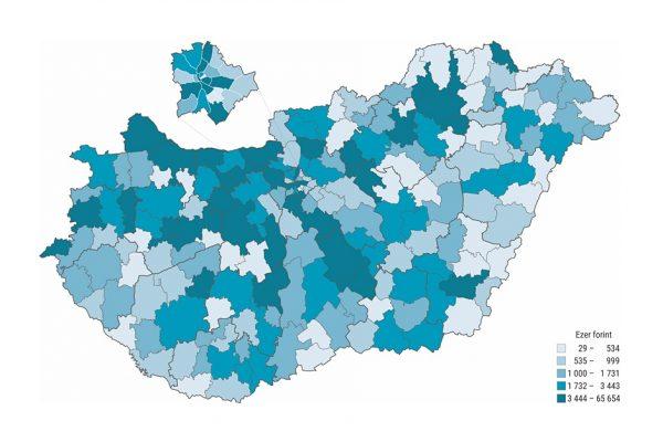 Ipari vállalkozások egy lakosra jutó összes termelési értéke járásonként (Forrás: Központi Statisztikai Hivatal)