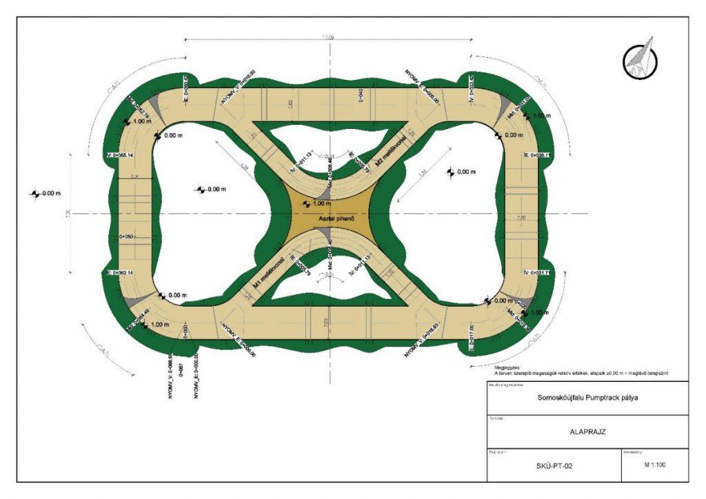 Látványterv a somoskőújfalui Vörösmarty Mihály utca mellé tervezett pump track pályáról (Forrás: Somoskőújfalu Község Önkormányzata)