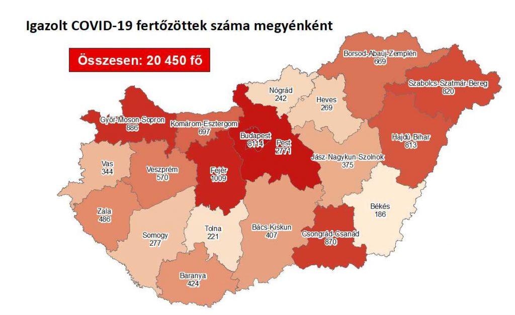 Koronavírus megyei eloszlás