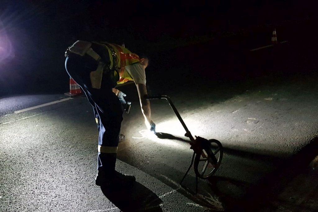 Helyszínelés a Szécsény úton (Fotó: Nógrád Megyei Rendőr-főkapitányság)