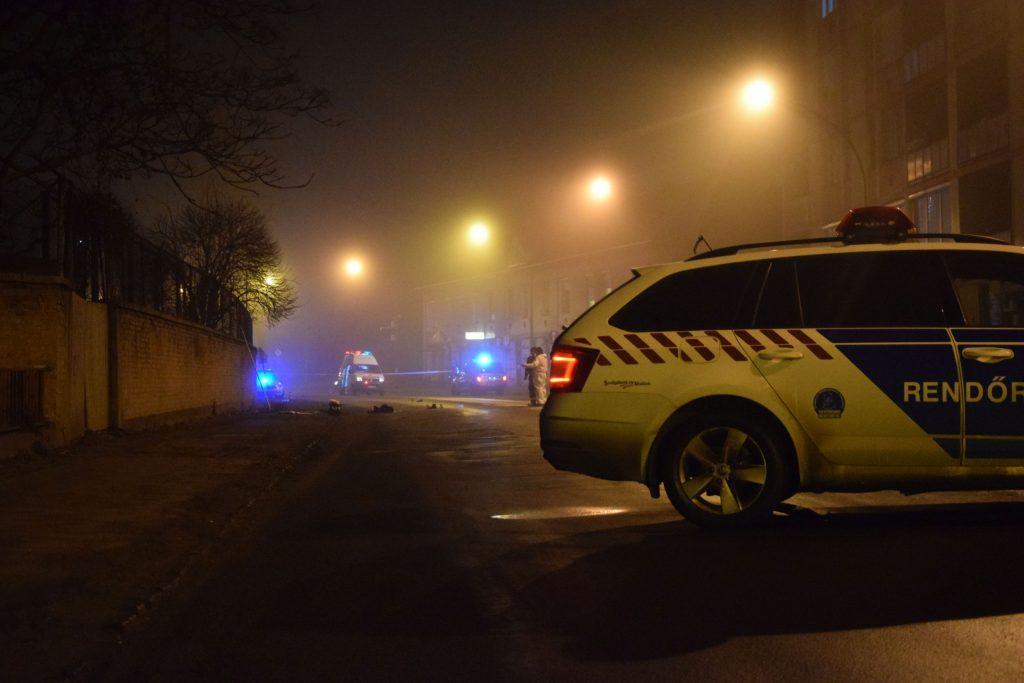 Helyszínelés a Rákóczi úton, 2020. január 17-én (Fotó: Nógrád Megyei Rendőr-főkapitányság)