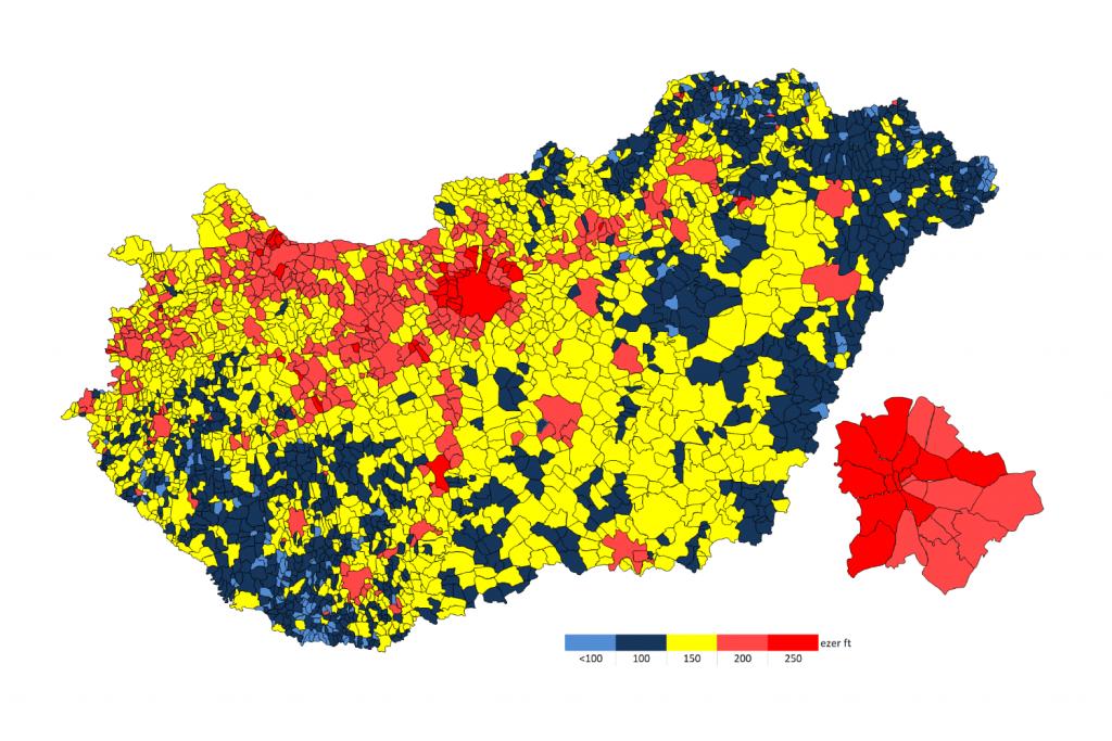 Havi nettó átlagkereset települések szerint 2019-ben a GKI számításában, NAV adatok alapján, ezer forintban (Forrás: GKI Gazdaságkutató Zrt.)