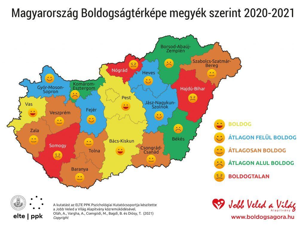 Magyarország Boldogságtérképe 2020-2021 (Grafika: boldogságprogram.hu)