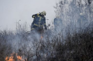 A salgótarjáni hivatásos tűzoltóság tagjai dolgoznak Karancskeszi közelében, ahol tíz hektárnyi bozótos és száraz fű gyulladt meg 2021. március 11-én (Fotó: MTI/Komka Péter)