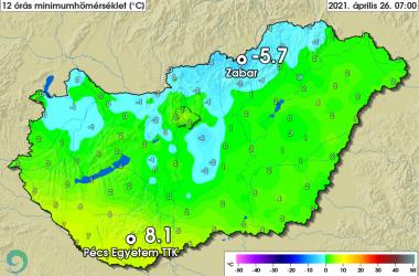 Zabaron -5.7 fokot mértek 2021. április 26-án, ezzel megdőlt a napi hidegrekord (Kép: Országos Meteorológiai Szolgálat | Facebook)