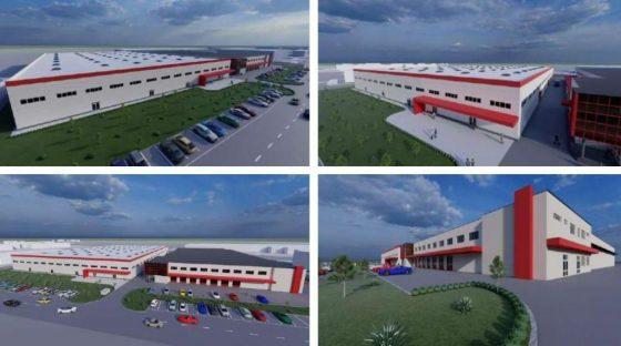 Látványtervek a Bumchun új gyárépületéről (Forrás: Salgótarján Megyei Jogú Város Településrendezési eszközeinek M-10 jelű módosítása egyszerűsített eljárásban – Véleményezési terv   Bumchun Precision Hungary Kft. új gyárépület koncepció terve)