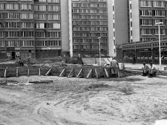 A Beszterce tér építése a '80-as évek közepén (Fotó: FORTEPAN / Magyar Rendőr adományozó)